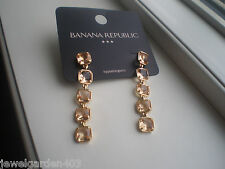 BANANA REPUBLIC GOLD  TONE & PALE PEACH DANGLING  STATEMENT EARRINGS