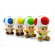 """Super Mario Bros Toad Soft Plush Stuffed Doll Kids Toys Gift^MW288 6.7""""/4 Colors"""