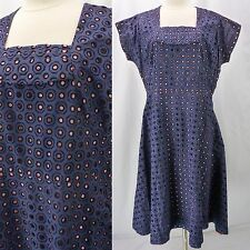 Vintage 50s Blue Flocked Cutwork Circles Pink/Blue Full Skirt Day Dress Plus 1X