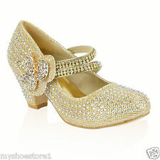 GIRLS WEDDING SHOES PARTY BRIDESMAID DIAMANTE LOW HEEL MARY JANE EVENING SANDAL