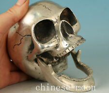 Big Chinese Copper Plating Silver Casting Mobile Human Skeleton Skull Head