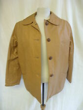 "Ladies Coat - Fingerhut, size 14, tan/orange faux leather 40"" bust, used - 0828"