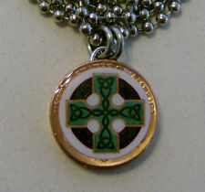"Altered Art Lucky Penny Pendant CELTIC CROSS Charm 24"" Necklace"
