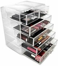Clear Acrylic Cosmetics Makeup Jewelry Storage Case Display Organizer Big Drawer