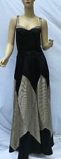 Ralph Lauren Blue Label Silk Full Length Gown Sz 14 Black Gold Stripe New