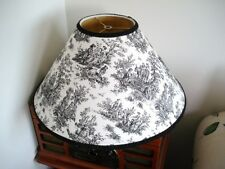 LG. WAVERLY? FLORAL FRENCH COUNTRY LIFE BLACK TOILE LAMP SHADE CORDING PRE-OWNED