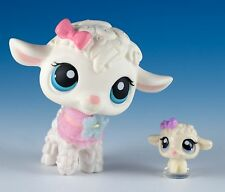 Littlest Pet Shop Lamb #186 White With Blue Eyes + Baby Teensies