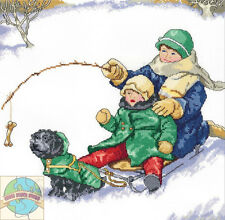 Cross Stitch Kit ~ Janlynn Mom & Daughter Vintage Winter Fun Sledding #008-0201