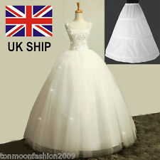 White Bridal Wedding Prom Dress 3 Hoops Underskirt Petticoat Crinoline Slips UK