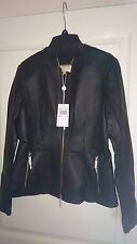 Brand New with Tags Michael Kors Waisted REAL Leather Jacket - Black