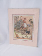 "Vintage Rare""Found Cat/Mouse"" Double Matted Signed Margaret W.Tarrant Print"