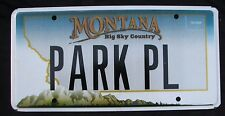 "MONTANA  VANITY LICENSE PLATE "" PARL PL "" PLACE BROADWAY MONOPOLY GAME NY NYC"