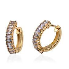 Tanzanite hoop Earrings in 14K Gold Overlay Sterling Silver 1.33 ct