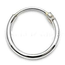 MENS SMALL 925 STERLING SILVER HINGED EAR HOOP / SLEEPER 8mm x 1 SINGLE EARRING