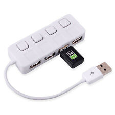 4-Port USB 2.0 Hub Multiplier With Individual Power Switches LED for Laptop PC