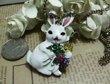 N290 Betsey Johnson Magic Bunny Easter Rabbit with Carrot Necklace US