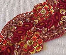Hand-Beaded Trim. Hard To Find At Any Price. Red & Gold