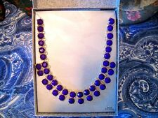 NEW DEEP PURPLE FACETED CRYSTAL BEAD BIB NECKLACE W/ORIGINAL BOX