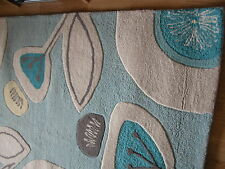 NEXT TEAL RETRO FLORAL AQUA NATURAL GREY SHABBY CHIC HAND MADE WOOL RUG
