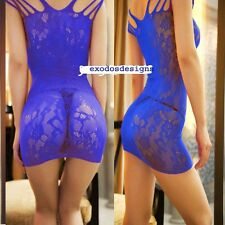 BLUE SEXY STRETCHY SEE THROUGH FISHNET STRIPPER MINI DRESS ONE S 8-12