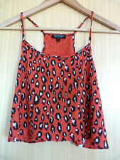 Topshop Girls Top Size 8 Vest Red Summer Casual Animal Print Cropped (ev)