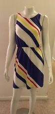 Womens Gap Smock Dress White Purple Yellow Diagonal Stripe Flattering Size XS
