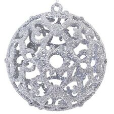 6 pcs Christmas Silver Glitter Baubles Balls Xmas Tree Decoration Home Ornaments