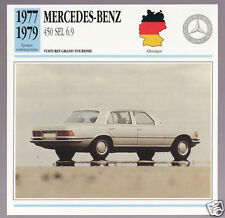 1977 1978 1979 Mercedes-Benz 450 SEL 6.9 Car Photo Spec Sheet Info French Card