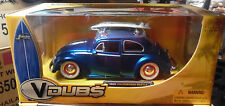 1959 VW BEETLE WITH SURF BOARD BLUE V DUBS  2006 JADA 1/24