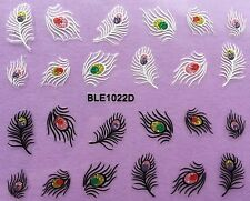 Nail Art 3D Glitter Decal Stickers Peacock Feathers BLE1022D
