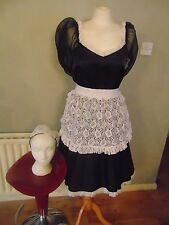 QUALITY BEAUTIFUL BLACK SATIN MAID OUTFIT SIZE 18/20