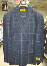 Steven Land 3PC Navy Plaid Mens Suit Jkt:48R W:42