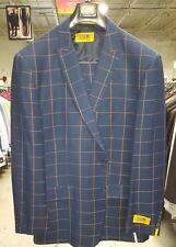 Steven Land 3PC Navy Plaid Mens Suit Jkt:48R W:42