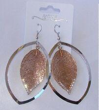 Foglia argento - oro Orecchini lunghi di Moda donna ,idea regalo, elegante