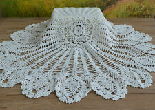 "32"" Hand Crochet Round Table Cloth Runner Topper Victorian White Cotton"
