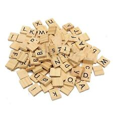 100 Wooden Alphabet Scrabble Tiles Black Letters & Numbers For Crafts Wood