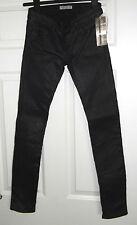Mutuamente París (£ 210RRP) Señoras Mirada de Cuero Negro Jeans-Talla 24-Skinny-Bnwt