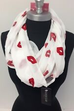 With Love Infinity Scarf Circle Embroidered Red Lips Silk Wrap All Seasons White