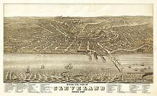 MAP ANTIQUE 1877 RUGER CLEVELAND OHIO CITY PLAN LARGE REPRO POSTER PRINT PAM1947