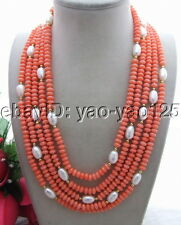 Q121712 Excellent! 5Strds Pearl&Coral Necklace
