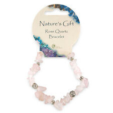 Pink Rose Quartz Gem Crystal Chip & Charm British Fossils Natures Gift Bracelet