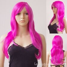 """23"""" Long Layer Wavy Wig Women Cosplay Party Costume Synthetic Full Wigs Rose Red"""