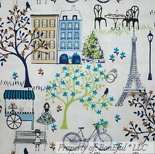 BonEful Fabric FQ Cotton Quilt White Blue Green Tree Flower Eiffel Tower Lg Bike