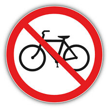 No Bicycle Ban Stop Sign Car Bumper Sticker Decal 5'' x 5''