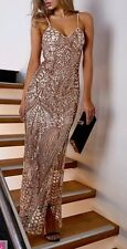 FOREVER HOT! NEW PEPPERMAYO GOLD LUXE SEQUIN FORMAL EVENING MAXI DRESS 6 8 10 12