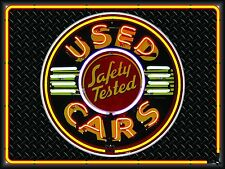 SAFETY TESTED USED CARS DEALER NEON STYLE PRINTED BANNER SIGN GARAGE ART 4' X 3'