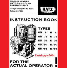 Hatz Diesel Engine Manual Instruction Spare Parts List, ES, E, 71,75, 79 780 785