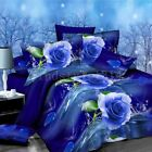 W 4 PCS 3D BEDDING SET DUVET COVER PILLOWCASES STANDARD QUILT QUEEN SZ New Chic