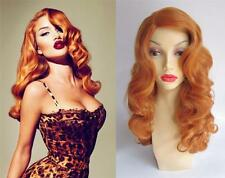 DELUXE ORANGE CURLY PIN UP RETRO BOMBSHELL JESSICA RABBIT HEAT RESISTANT WIG