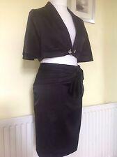 Belle KAREN MILLEN noir satin jupe costume uk 12
